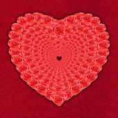Heart of roses on red — Stock Photo