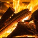 Burning billets in hot stove — Stock Photo #42893955
