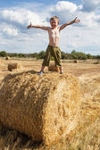 Boy stands on bale straw — Stock Photo