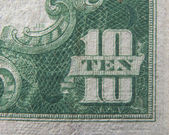 Ten 10 Dollars US Currency — 图库照片
