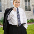White Boy in Suit Outside Church — Stockfoto