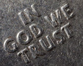 Makro v boha věříme — Stock fotografie