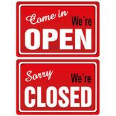Otevřeno zavřeno známky — Stock vektor