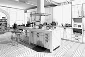 Wireframe Kitchen — Stock Photo