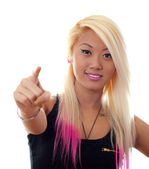 Young woman showing thumbs up — Stock Photo