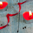 Two heart shaped candles  — Stock Photo