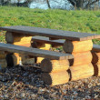 Stock Photo: Wooden table and bench