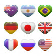 Set of hearts, flags — Stock Photo