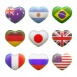 Set of hearts, flags — Stock Photo #30746741