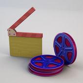 电影 clapperboard 用胶片卷轴 — 图库照片