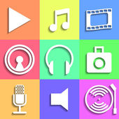 Set of flat Media Icons — Stock Vector