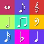 Set of Flat Music Notes Icons. Vector — Vector de stock