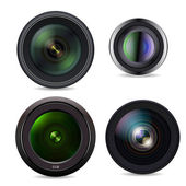 Set of Photo Lens isolated on white background — Stock Vector