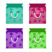 Set of Flat Paper Shopping Bag. Vector — Stock Vector