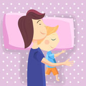 Happy mom and son sleep together — Stock Vector