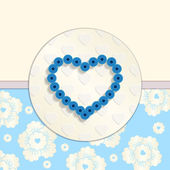 Valentine. Paper Blue Heart. Greetings Card — Vettoriale Stock