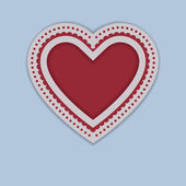 Red Paper Heart isolated on blue background — Wektor stockowy