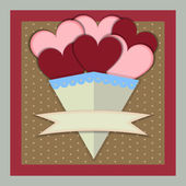 Abstract Paper Bouquet of Hearts with banner — Stock Vector