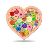 ボタン。心。バレンタイン — ストックベクタ