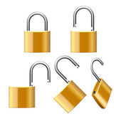 Set of Padlocks. Open and Closed. Vector — Stock Vector
