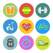 平健身图标集。矢量 — 图库矢量图片