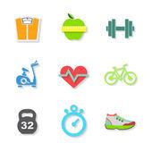 Düz fitness simgeler kümesi. vektör — Stok Vektör