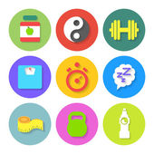Set of Flat Fitness Icons. Vector — Stock Vector