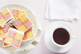 Tea and Battenberg Cake — Stock Photo