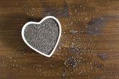 Nasiona chia zdrowe serce poziome — Zdjęcie stockowe