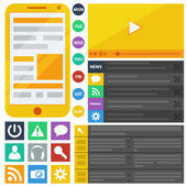 Flat design elements, web buttons and icons. — Stock Vector