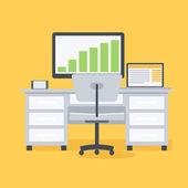 Computer desk, workplace — Stock Vector