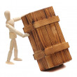 Wooden doll with big box — Stock Photo