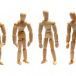 Team of wooden dolls — Stock Photo