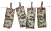 Dollars drying on line — Stock Photo