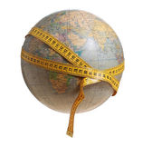 Globe with measure tape — Stock Photo