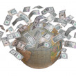 Stock Photo: Globe with lot of money in orbit