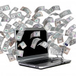 Laptop with shopping cart and flying dollars — Stock Photo #18178885