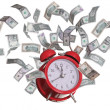 Royalty-Free Stock Photo: Alarmclock with flying dollars
