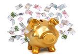 European bank notes and golden piggybank — Stock Photo
