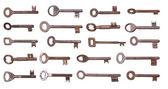 Old rusty keys on white background — Stock Photo