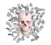 Crânio em chuva de dólares isolado no branco — Foto Stock