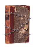 Old historic book protected with padlock and chain — Stock Photo