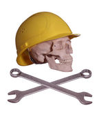 Skull and bones with helmet and wrench — Stock fotografie