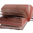 Very old book with fanned pages on white — Stock Photo