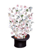 European banknotes flying out of old top hat — Stock Photo