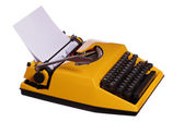 Old yellow typewriter with paper — Stock Photo
