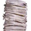 Stacked old newspapers — Stock Photo