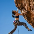 Climber dangles from the edge. — Stock Photo #24829557