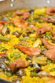 Cooking paella — Stock fotografie