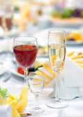 Glasses on holiday table. — Stock Photo